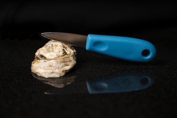 Blue Shucking Knife with a Stormy Bay Oyster